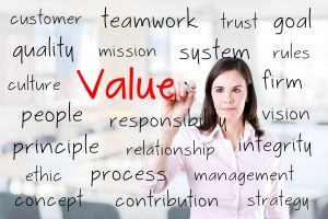 Businesswoman writing value concept.